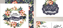 Floral wedding invitations with RSVP cards