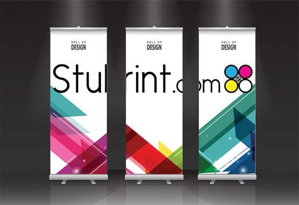 3 roller banners standing side-by-side