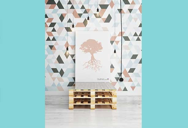 A0 poster on wall with a tree design