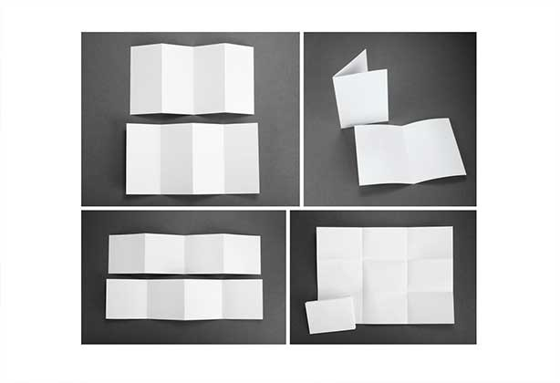 Examples of folded flyer techniques on blank printer paper