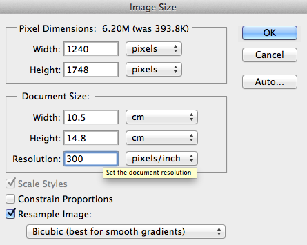 changing image size and resolution in photoshop