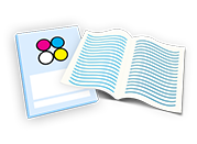 Coloured icon for booklets and brochures